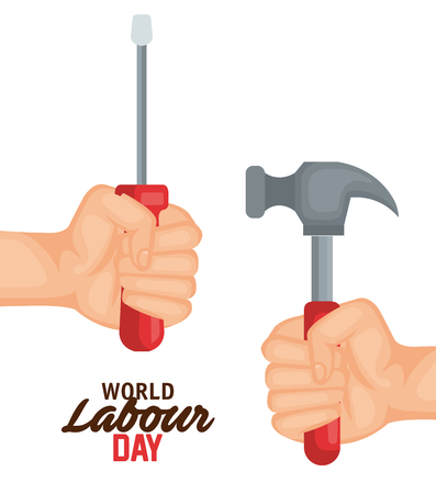 hands with screwdriver and hammer to labour day vector illustration