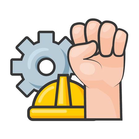 happy labour day raised hand helmet wheel vector illustration