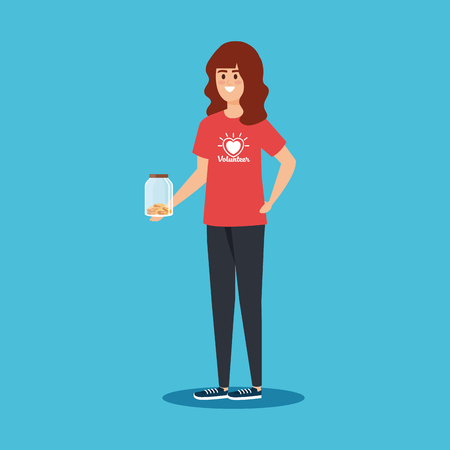 girl volunteer with moneybox and coins donation vector illustration Çizim