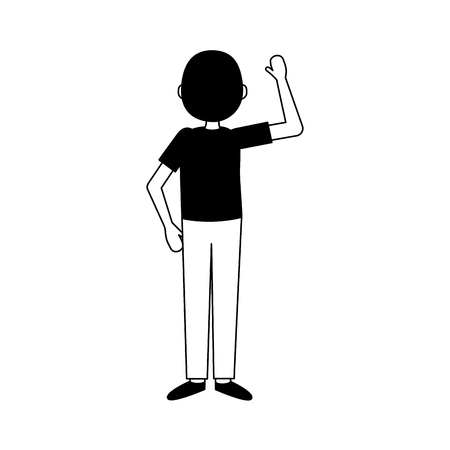 man hand up back view vector illustration 向量圖像
