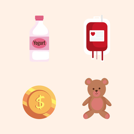 set blood donation with teddy and yogurt bottle vector illustration