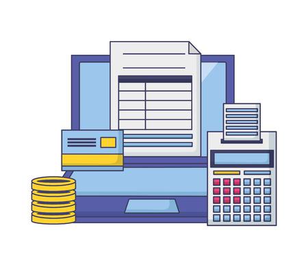 laptop bank card calculator money form  tax payment vector illustration Archivio Fotografico - 121246518
