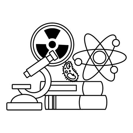 school science radiation atom books bacteria miscroscope vector illustration design