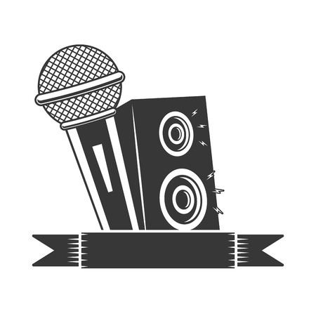 microphone and speakers karaoke vector illustration design