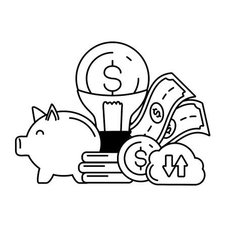 piggy bank cloud storage money idea online payment vector illustration Stock Illustratie