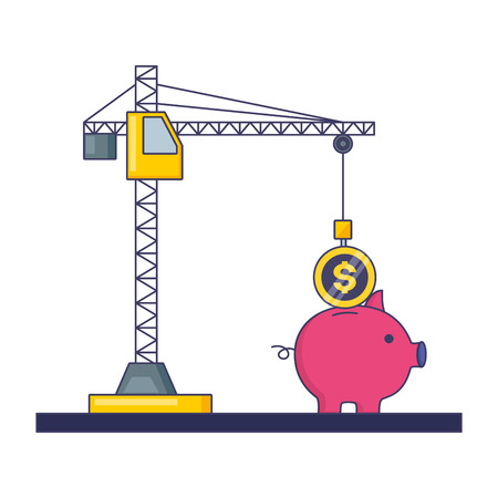 crane inserting coin in the pig tax payment  vector illustration Stock Illustratie