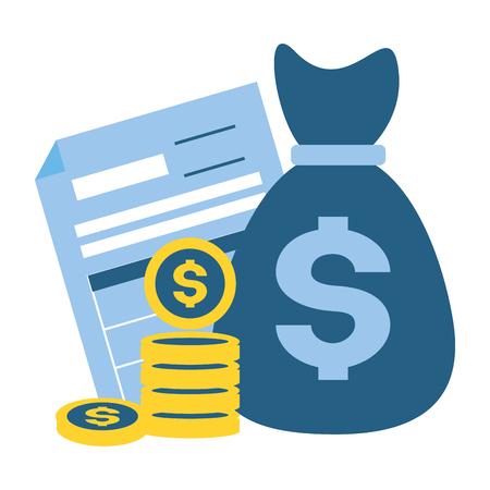 Sac d'argent sous forme de pièces de monnaie paiement d'impôt vector illustration Vecteurs