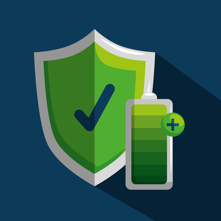 shield security and battery to lifestyle wellness vector illustration Çizim