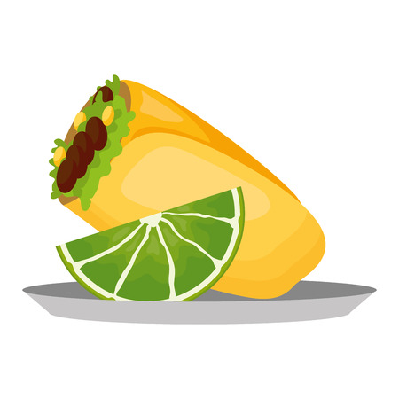 mexican burrito and lemon on dish vector illustration