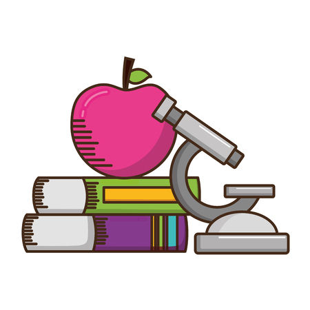 school apple microscope books supplies vector illustration design
