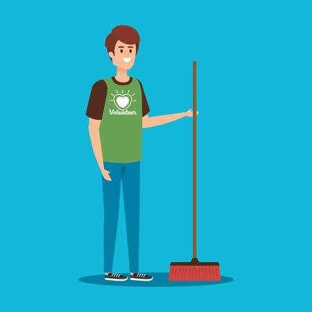 Garçon bénévole avec un balai à l'illustration vectorielle de soutien à la charité