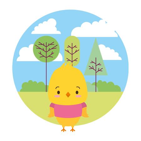 cute chicken cartoon landscape vector illustration design Illustration