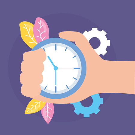 Mano con ilustración de vector de engranajes de trabajo de tiempo de reloj