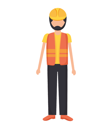 worker construction with helmet and vest vector illustration Illustration