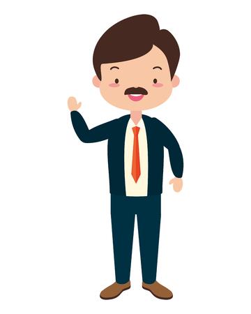 Mann-Charakter-Cartoon auf weißem Hintergrund-Vektor-Illustration-Design