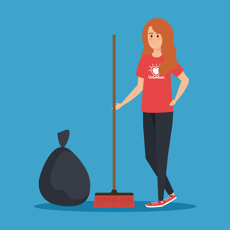 girl volunteer with broom and trash bag vector illustration