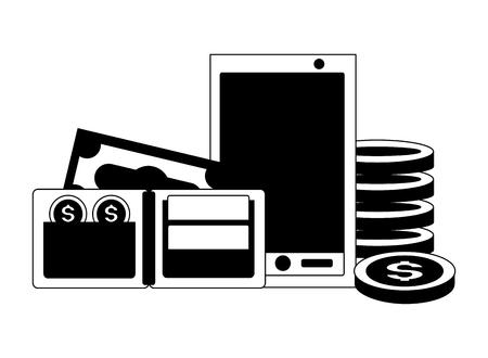 smartphone wallet money tax payment vector illustration Illusztráció