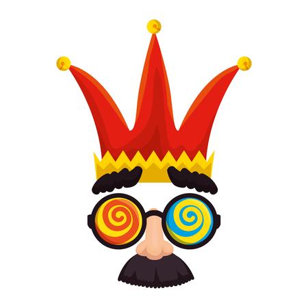 fools day mask glasses and mustache with joker hat vector illustration design Illusztráció
