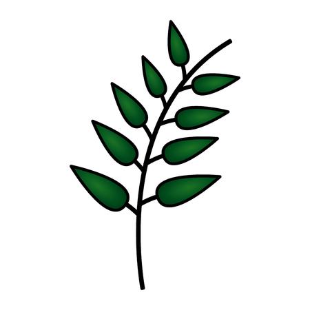 green branch leaves nature white background vector illustration Ilustrace