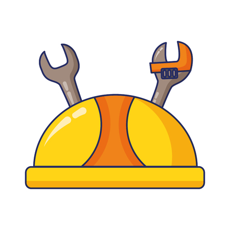 hardhat and tools labour day vector illustration  イラスト・ベクター素材