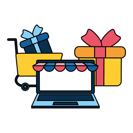 laptop with gift isolated icon vector illustration desing Illustration