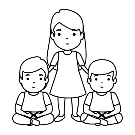 mother with sons characters vector illustration design Illustration