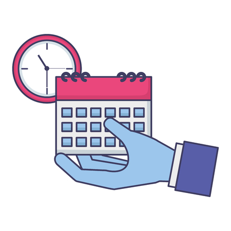 hand calendar and clock tax payment  vector illustration