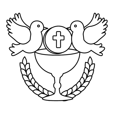 pierwsza komunia w kielichu z gołębiami projekt ilustracji wektorowych