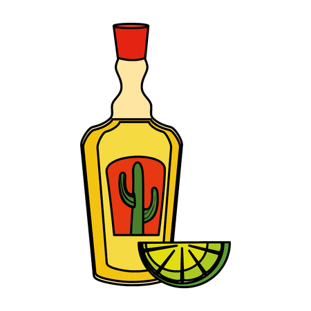 tequila bottle with lemon vector illustration design