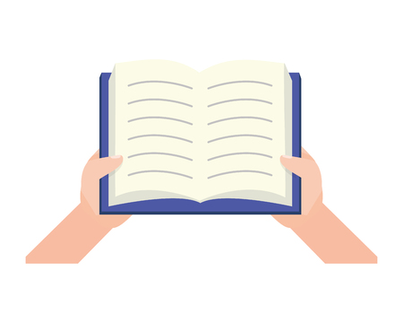 hhands with open book - world book day vector illustration Banque d'images - 123232431