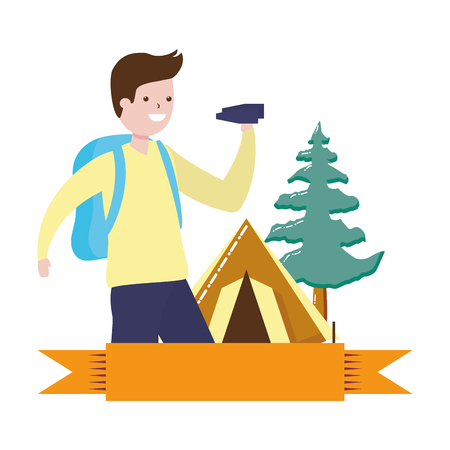 man with binoculars camping hobby vector illustration