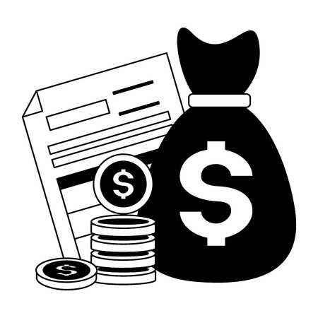 money bag form coins tax payment  vector illustration 版權商用圖片 - 121246561