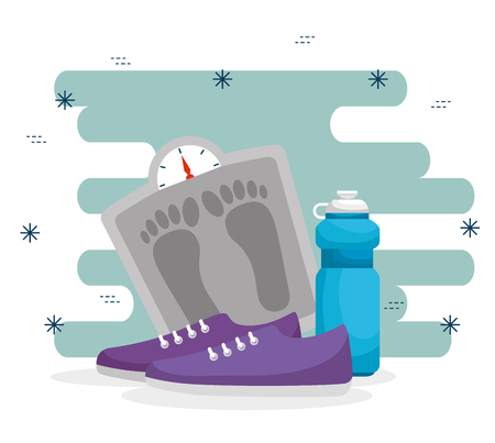 weighing machine with water bottle and shoes vector illustration Ilustração