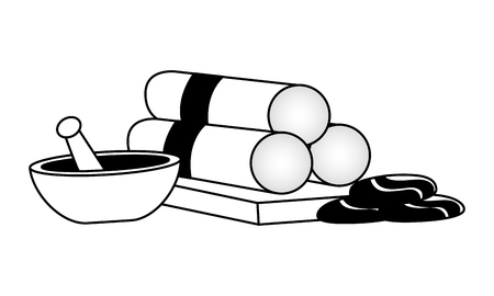 towels bowl stones spa therapy treatment vector illustration Illustration