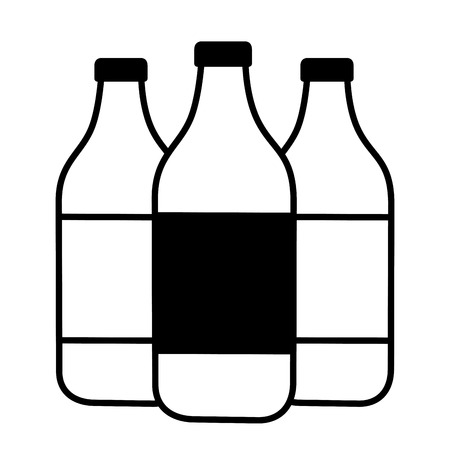 icona di bottiglie d'acqua accesa con illustrazione vettoriale di sfondo Vettoriali