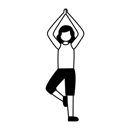 woman practicing yoga sport activity vector illustration