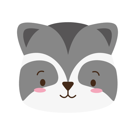 cute raccoon face cartoon vector illustration design Illustration
