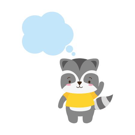 cute raccoon cartoon speech bubble vector illustration design Standard-Bild - 123232571