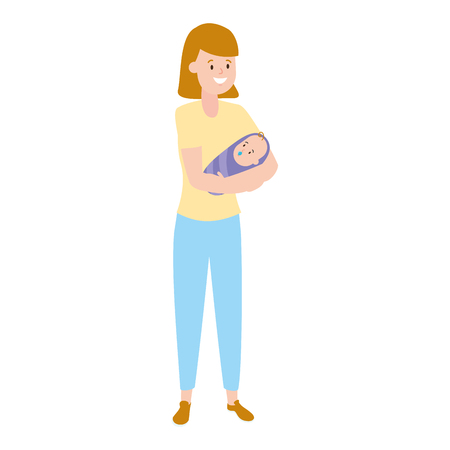 family mother carrying a baby vector illustration