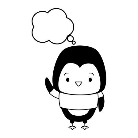 cute penguin cartoon speech bubble vector illustration design