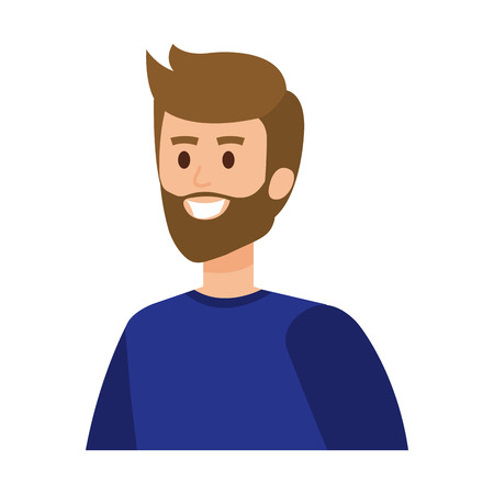 young man with beard character vector illustration design 向量圖像