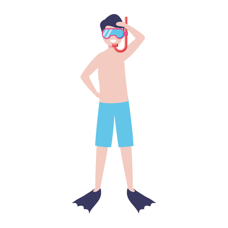 man with snorkel diving - my hobby vector illustration