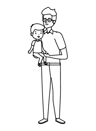 young father with son characters vector illustration design Standard-Bild - 123234020