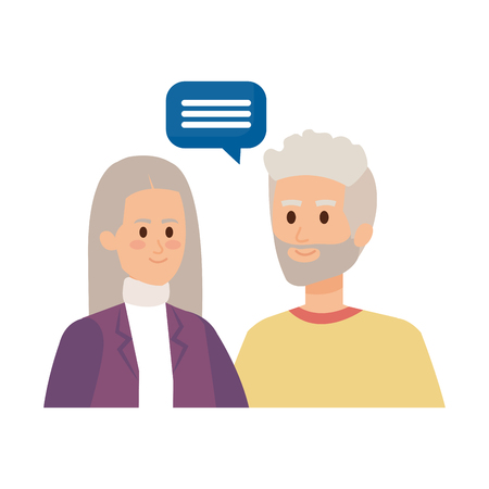 cute grand parents couple with speech bubble vector illustration design