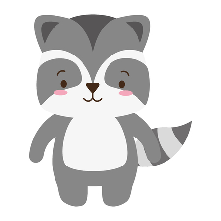 cute raccoon animal cartoon vector illustration design Stock Illustratie