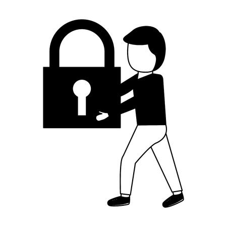 Hombre sujetando candado de seguridad fondo blanco ilustración vectorial