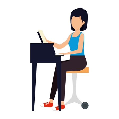 woman playing grand piano character vector illustration design Stock Illustratie