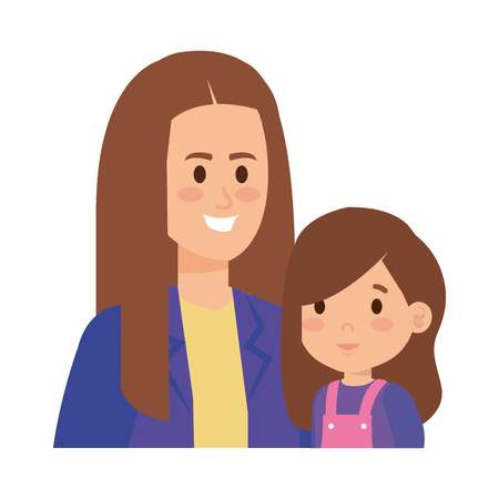 young mother with little daughter vector illustration design Standard-Bild - 123234140