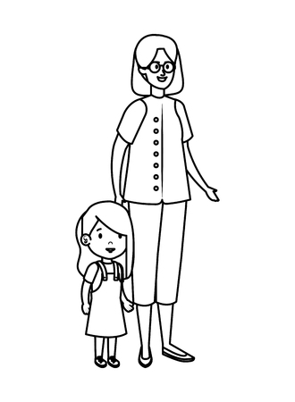 young mother with little daughter vector illustration design Standard-Bild - 123234151