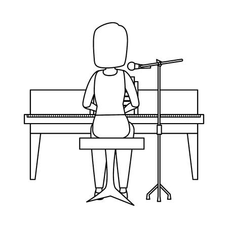woman playing grand piano character vector illustration design Illustration